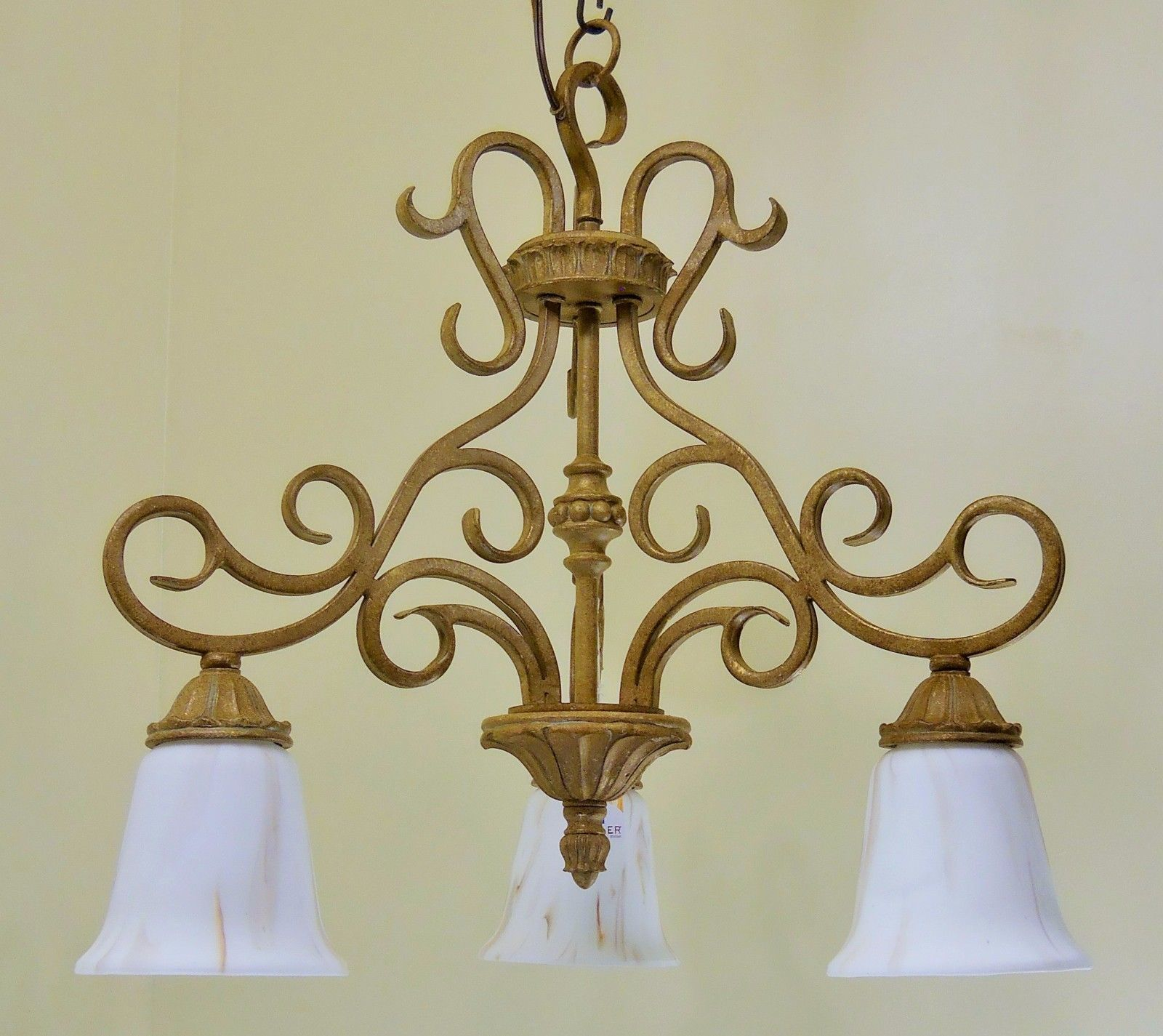 Regal Gold Finish Scrolled Metal Pendant Chandelier Light French Swirl Glass