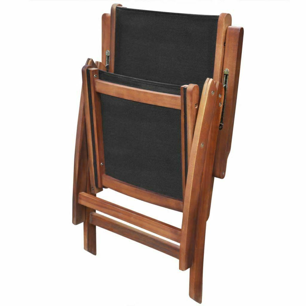 vidaXL 2x Solid Acacia Wood Garden Folding Chair Patio Outdoor Reclining Seat