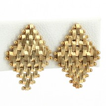 "Solid 14K Gold Basket Weave Flexible Diamond-Shaped Earrings 1/2"" x 3/4""... - $169.99"