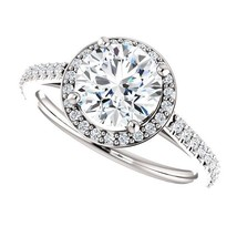 PLATINUM 2.00 Carat Ideal Cut Genuine Diamond Solitaire Halo Ring - $4,895.00