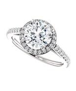 PLATINUM 2.00 Carat Ideal Cut Genuine Diamond Solitaire Halo Ring - $4,895.00