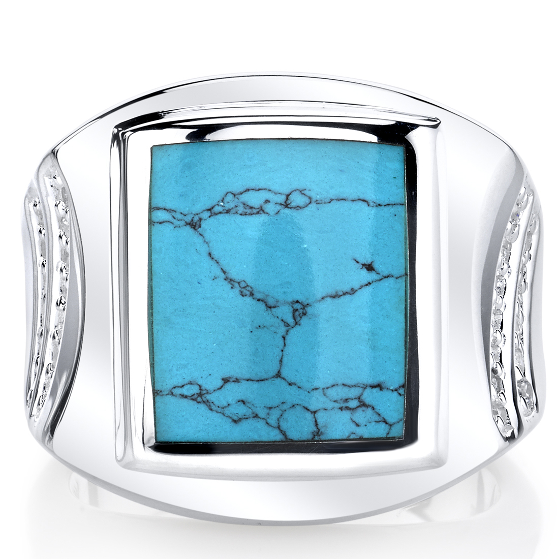 Men's Sterling Silver Simulated Turquoise Centurion Ring