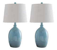 Kings Brand Light Blue With White Fabric Shade Table Lamps, Set of 2 - $71.05