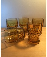 Set of 5 Vintage 70s Anchor Hocking amber glass tumblers - $32.00