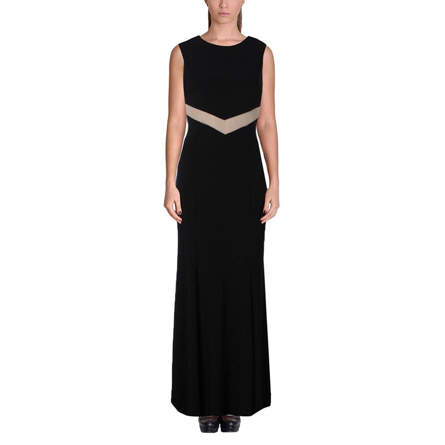 Primary image for 2465-1 Betsy & Adam Womens Sheer Trim Cut-Out Evening Dress Black 12