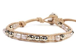 Chan Luu Beige Brown and Grey Iridescent Mix Mineral Stone Beaded Leathe... - $95.92