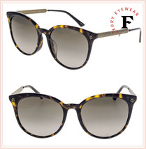 GUCCI Brass Bronze GG0224SK Brown Havana Wild Tiger Cat Stud Sunglasses 0224 - $272.25