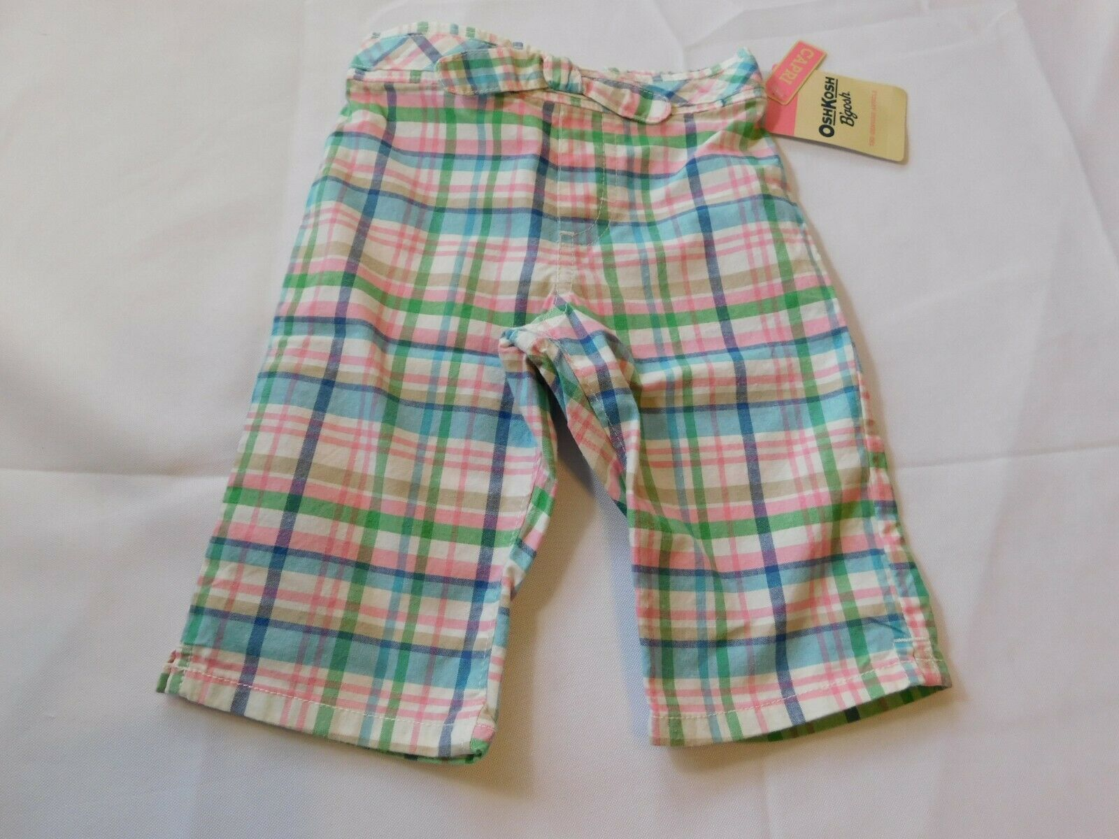 Primary image for Osh Kosh B'gosh Youth Girl's Size 12 Months Capri Pants Cropped Multi Plaid NWT