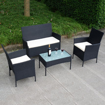 4 pcs Outdoor Rattan Wicker Cushioned Seat with a Loveset - £189.11 GBP