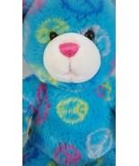 Build A Bear Teddy Pink Teal w/ Peace Signs Soft Plush Stuffed Animal Do... - $11.82
