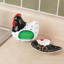 Ceramic Rooster Spoon Rest & Dish Sponge Holder Set Kitchen Sink Counter... - $29.57
