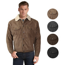 Men's Premium Classic Button Up Fur Lined Corduroy Sherpa Trucker Jacket