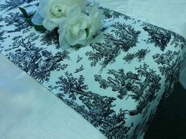 TOILE TABLE LINENS - Colors- Table Runner, Napkin, Placemat, black, baby... - $12.50