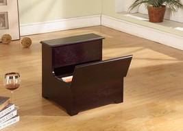 Kings Brand Cherry Finish Wood Bed Bedroom Step Stool With Storage ~New~ - $56.09