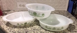 Vintage 3 Piece Glasbake Green Daisy Flower Set (no lids) Milk glass - $24.74