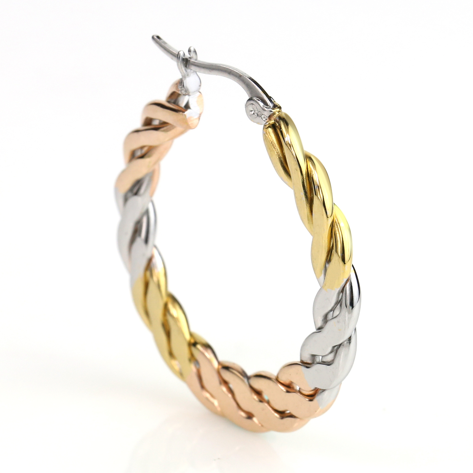 Interwoven Tri-Color Silver, Gold & Rose Tone Hoop Earrings- United Elegance