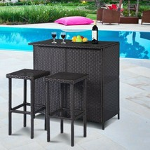 Outdoor Patio Bar Set includes Table + 2 Stools - Brown Wicker Rattan Fu... - $247.64