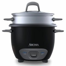 Small Black Rice Cookers Vegetable Food Steamer 1-3 Cups by Aroma Brand New - $35.49