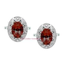 925 Sterling Silver Natural Garnet & Cz Gemstones Men's Cufflinks Jewelry - $99.00