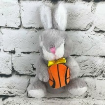 Dan Dee Collectors Choice Bunny Rabbit Plush Gray Holding Basketball Soft Toy - $7.91