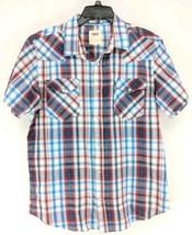 Levis Pearl Snap Western Shirt Men's Sz Large Blue Red Plaid (w)   - $21.49