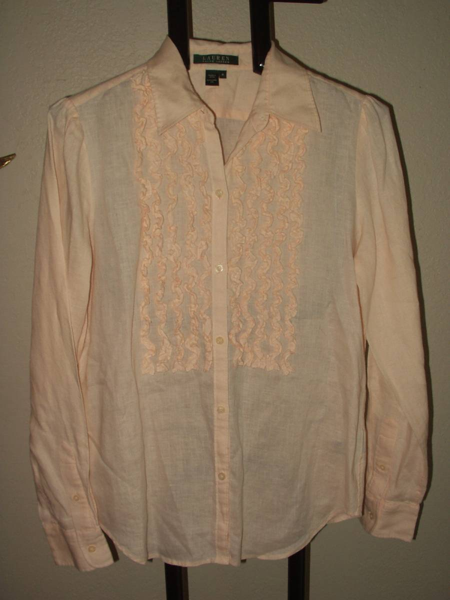 LAUREN RALPH LAUREN WONDERFUL LINEN SHIRT W/ RUFFLING M