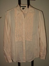 LAUREN RALPH LAUREN WONDERFUL LINEN SHIRT W/ RUFFLING M - $12.88