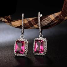 14K Solid White Gold Earring 5.65ct Authentic Healing Pink Topaz with Genuine Di - $946.95