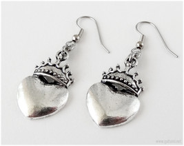 Heart Crown Earrings, Surgical Steel Hooks, Antique Silver Finish - Goth... - $5.00
