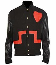 Chris Brown Heart Black Wool Bomber Faux Leather Jacket image 1