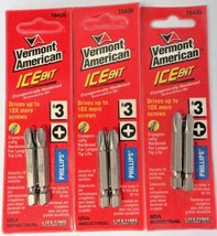 """Vermont American 16436 #3 Phillips x 2"""" Ice Bits Screw Tips USA 3 Packs of 2 - $2.97"""