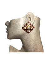 Chanel 1970s Vintage Red and Pearl Gripoix Crystal Clip Earrings - $898.00
