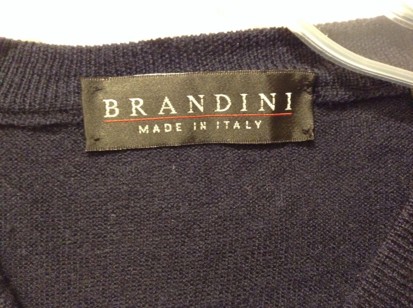 Brandini Pure New Wool Navy Blue Sweatervest Sz Medium