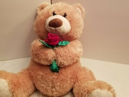 Animal Adventure Teddy Bear Plush Stuffed Animal Tan Red ROSE 2008 Valen... - $19.99