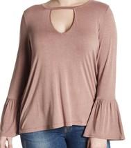 H.I.P. Gigi Women Bell Sleeve Flounce Front Keyhole Shirt Plus 1X Mauve ... - $18.61