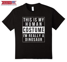Kids Dinosaur Halloween Costume Shirt Funny Easy for Kids Adults 12 Black - $23.92