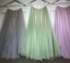 Sage Green Puffy Tulle Skirt Outfit High Waisted Midi Tulle Skirt Holiday Outfit image 1