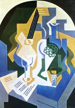 Still Life with Fruit bowl and mandolin by Juan Gris - 24x32 inch Canvas Wall Ar - $51.99