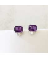 925 Sterling Silver Emerald cut Purple Amethyst Earring Gift for women g... - $95.99