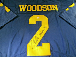 CHARLES WOODSON / AUTOGRAPHED MICHIGAN WOLVERINES BIG TEN PRO STYLE JERSEY / COA image 3