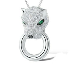 Cougar Sterling SILVER Simulated Diamond & Simulated Emerald Designer Pe... - $38.23