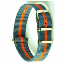 20mm X 255mm Nato Canvas Nylon wrist watch Band strap DARK ORANGE GREY P2 - $11.73