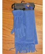 SAKS  3 Piece GLOVE SCARF HEADBAND SET  Periwinkle Blue - $18.58