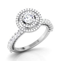 Halo Diamond Ring White Gold Engagement Ring Womens Anniversary Gift Free Ship   - $619.99