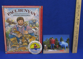Paul Bunyan Hardcover Book Steven Kellogg 1988 Water Carnival Button Pos... - $15.83