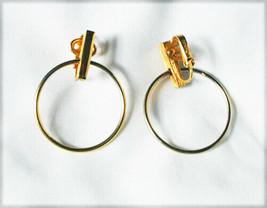Trifari crown clip earrings gold tone circles marked jewelry - $6.19