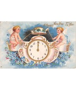 CHERUBS STRIKE BELL~CLOCK AT MIDNIGHT HAPPY NEW YEAR TO YOU POSTCARD c19... - $4.77