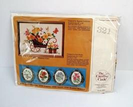 Craft Circle Needlepoint Flower Cart 321 New Sealed Vintage - $25.00
