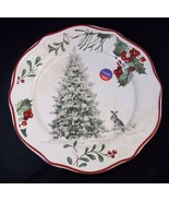 """BH&G Christmas salad plate Rabbit with Tree in snow 8"""" NEW - $9.70"""