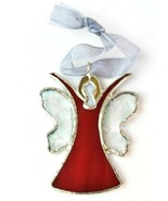 Vintage Stained Glass Red AB Rejoice Angel Ornament Pendant Sun Catcher - $17.82